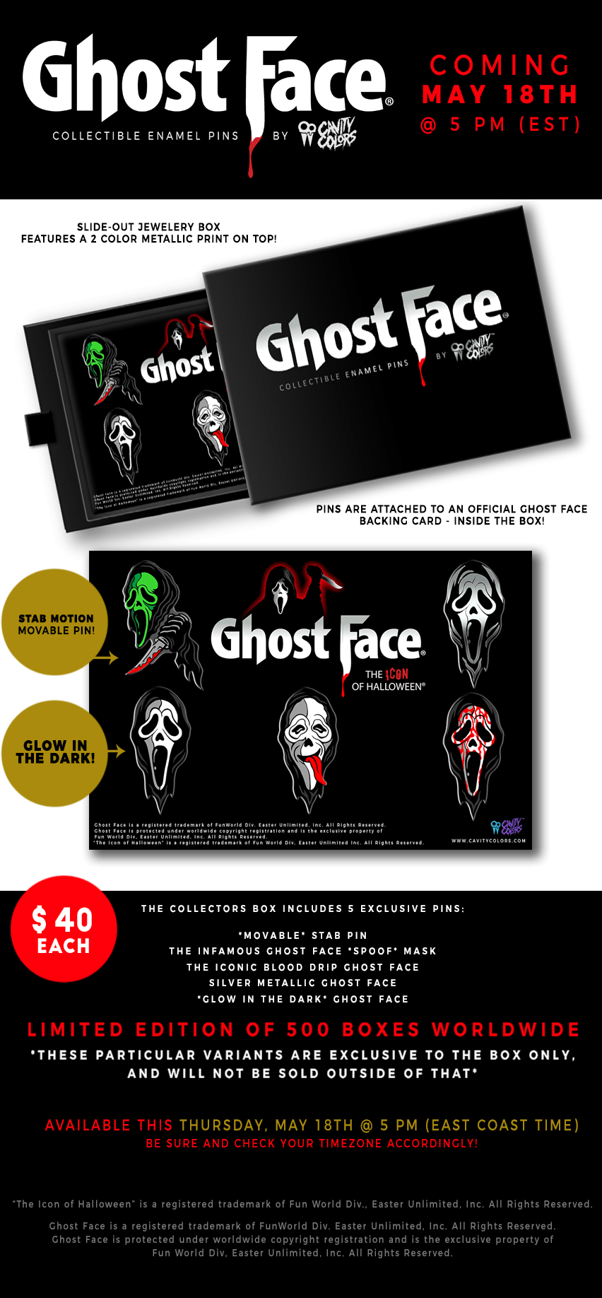 GhostFace Enamel Pins by Cavity Colors