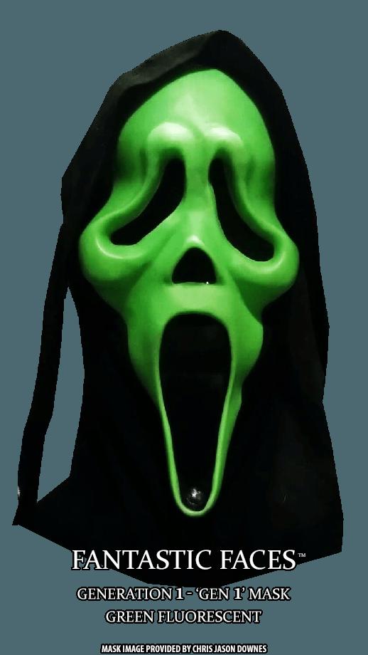 Fluorescent Green Fantastic Faces GhostFace Mask