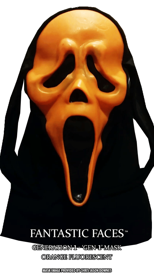 Fluorescent Orange Fantastic Faces GhostFace Mask