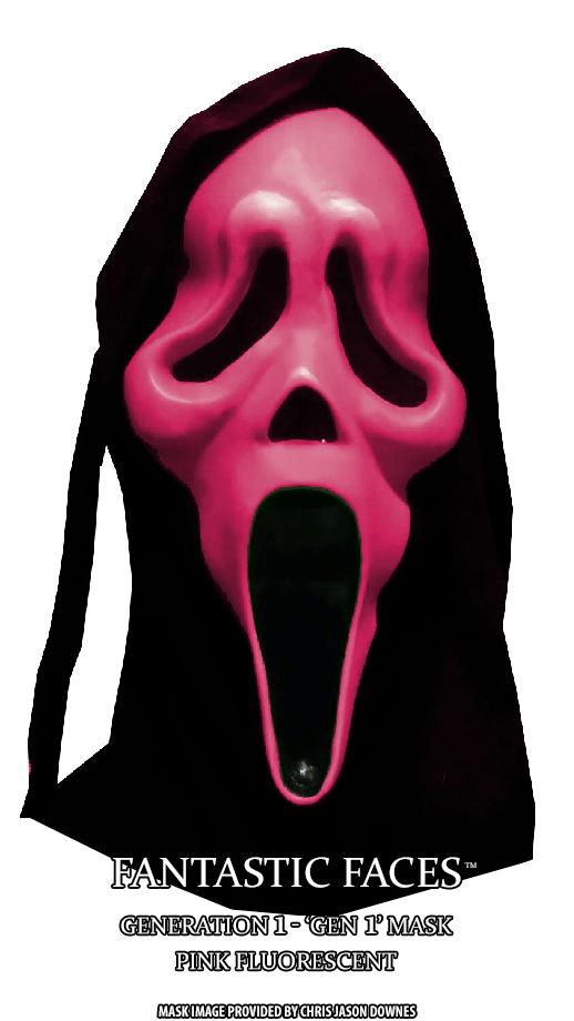Fluorescent Pink Fantastic Faces GhostFace Mask